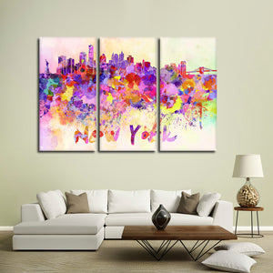 NYC Watercolor Skyline Multi Panel Canvas Wall Art - City