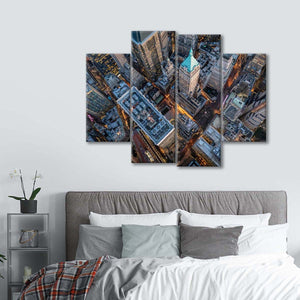 New York City from Above Multi Panel Canvas Wall Art - Aerial