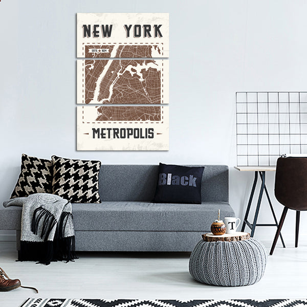 New York Map Multi Panel Canvas Wall Art