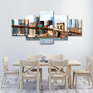 New York Painting Multi Panel Canvas Wall Art - City
