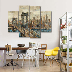New York View Multi Panel Canvas Wall Art - Landmarks