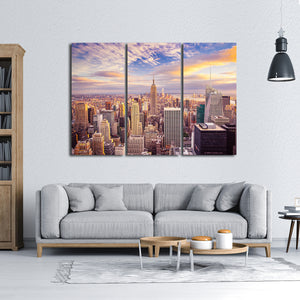 New York Aerial View Multi Panel Canvas Wall Art - City