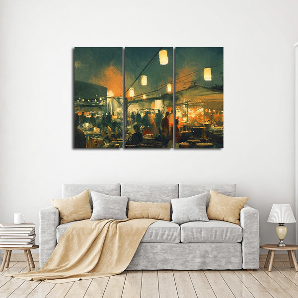 Night Market Multi Panel Canvas Wall Art