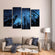 Nocturnal Skyline Multi Panel Canvas Wall Art
