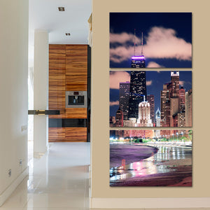 North Avenue Beach Multi Panel Canvas Wall Art - City