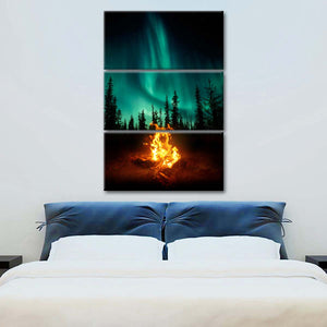 Northern Lights Campfire Multi Panel Canvas Wall Art - Aurora