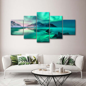 Norway Teal Sky Multi Panel Canvas Wall Art - Aurora