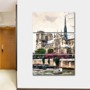 Notre Dame River Multi Panel Canvas Wall Art - Paris