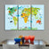 Nursery Animal World Map Multi Panel Canvas Wall Art