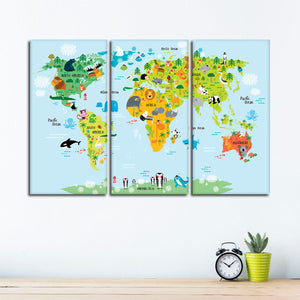 Nursery Animal World Map Multi Panel Canvas Wall Art - Kids