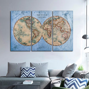 Ocean Hemispheres Map Multi Panel Canvas Wall Art - World_map
