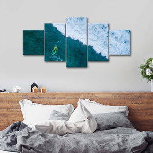 Ocean Kayak Aerial Multi Panel Canvas Wall Art - Kayak