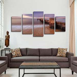 Ocean Pier Multi Panel Canvas Wall Art - Beach