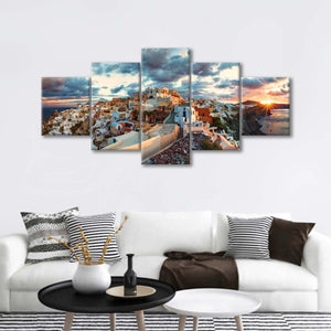 Oia Village Multi Panel Canvas Wall Art - Village