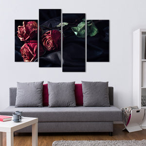 Old Roses Multi Panel Canvas Wall Art - Gothic