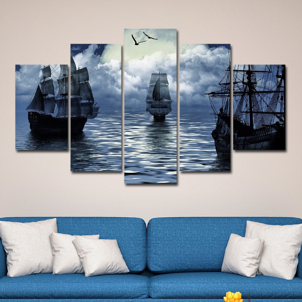 old sailing boat multi panel canvas wall art elephantstock. Black Bedroom Furniture Sets. Home Design Ideas