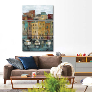 Old Town Port II Multi Panel Canvas Wall Art - Boat