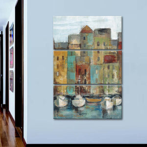 Old Town Port I Multi Panel Canvas Wall Art - Boat
