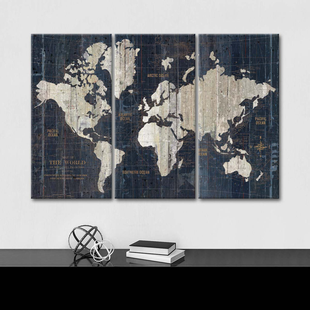 Blue Vintage World Map Wall Art Extra Large Wall Art Canvas