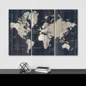 Old World Map Blue Multi Panel Canvas Wall Art - World_map