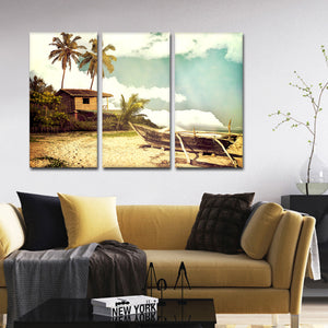 Old Boat On The Shore Multi Panel Canvas Wall Art - Boat