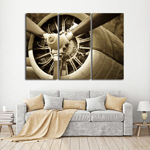 Old Engine Multi Panel Canvas Wall Art - Airplane
