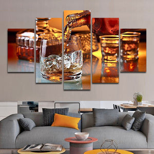 On The Rocks Multi Panel Canvas Wall Art - Whiskey