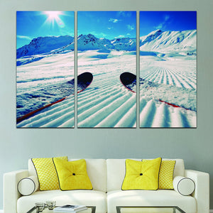 On the Slopes Multi Panel Canvas Wall Art - Ski