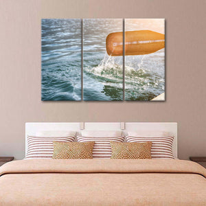 Orange Kayak Paddle Multi Panel Canvas Wall Art - Kayak