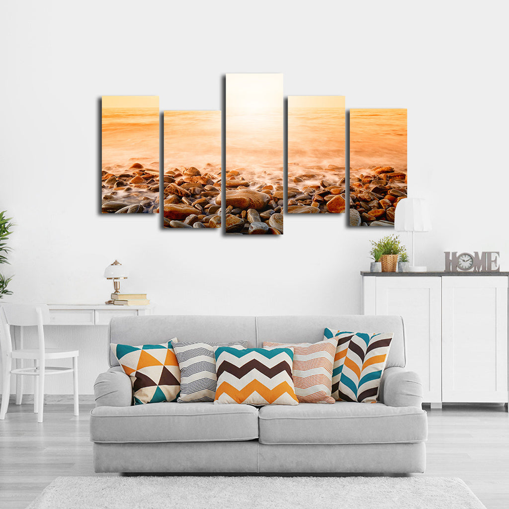 orange sunset multi panel canvas wall art elephantstock. Black Bedroom Furniture Sets. Home Design Ideas