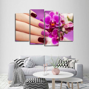 Orchid Manicure Multi Panel Canvas Wall Art - Nails