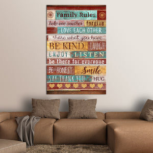 Our Family Rules Multi Panel Canvas Wall Art - Inspiration