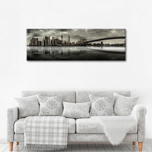 Overcast Manhattan Skyline Multi Panel Canvas Wall Art - City