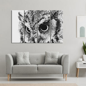 Owl's Eyes Multi Panel Canvas Wall Art - Bird