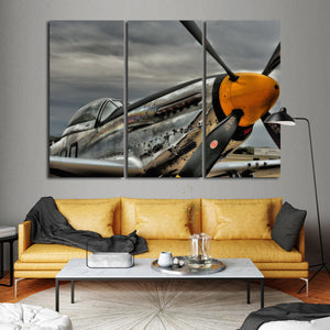 P51 Mustang Multi Panel Canvas Wall Art - Airplane