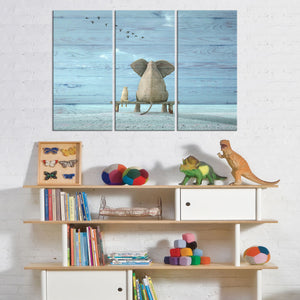 Elephant Daydream Multi Panel Canvas Wall Art - Kids