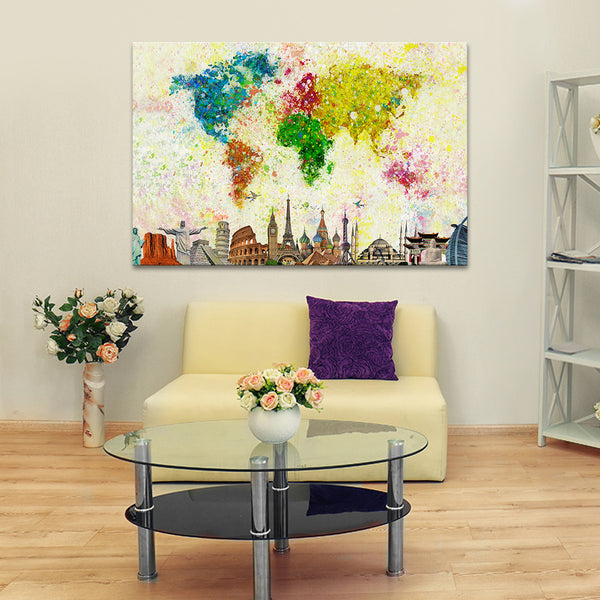 Paint Splash World Map Multi Panel Canvas Wall Art | ElephantStock