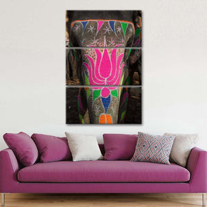 Floral Elephant Painting Multi Panel Canvas Wall Art - Elephant