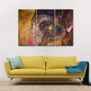Painted Indian Elephant Multi Panel Canvas Wall Art - Elephant