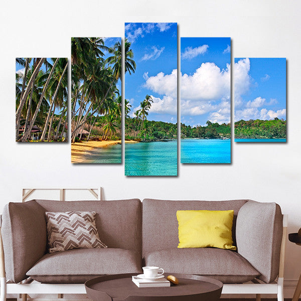Teal Canvas Wall Art palm beach multi panel canvas wall art – elephantstock