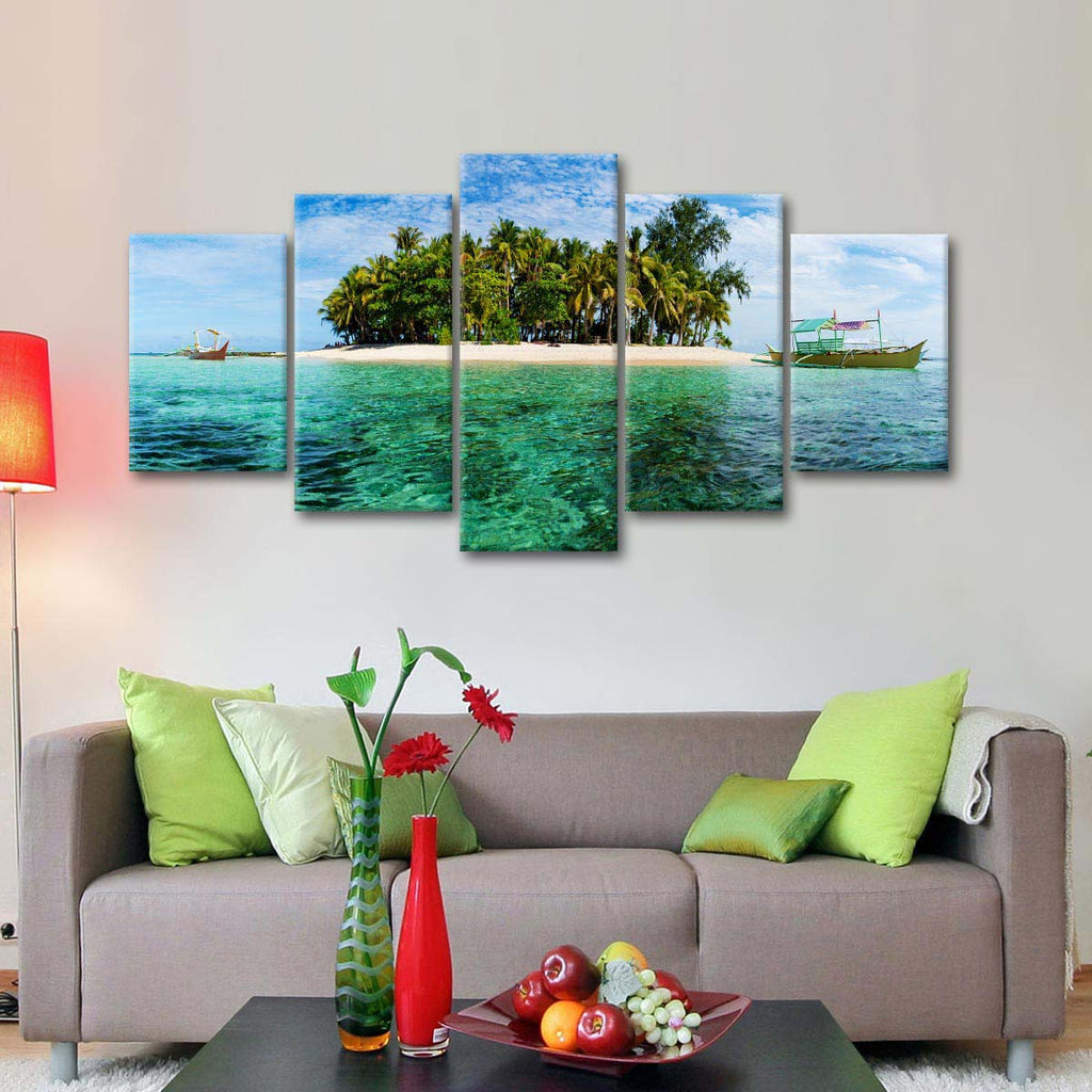 Panoramic island multi panel canvas wall art