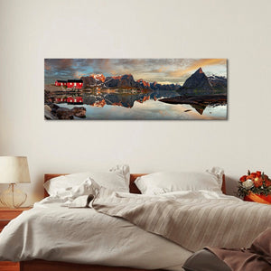 Panoramic Lake Multi Panel Canvas Wall Art - Nature