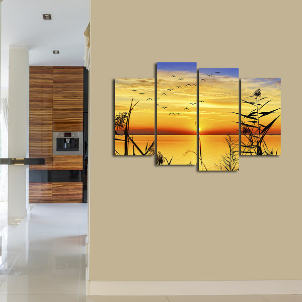 Panoramic Lake View Multi Panel Canvas Wall Art | ElephantStock