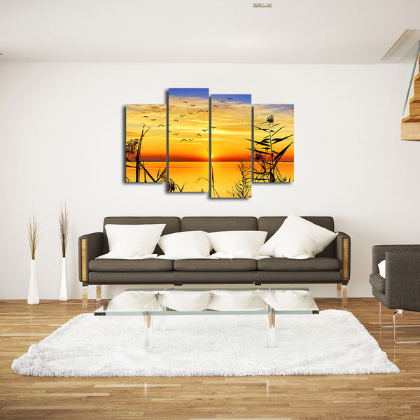 Panoramic Lake View Multi Panel Canvas Wall Art