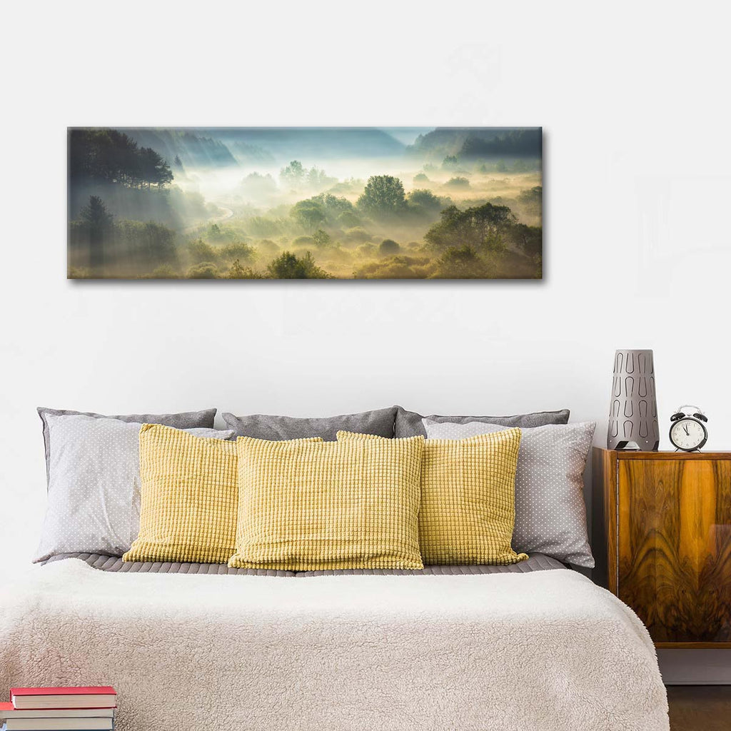 Panoramic rain forest multi panel canvas wall art