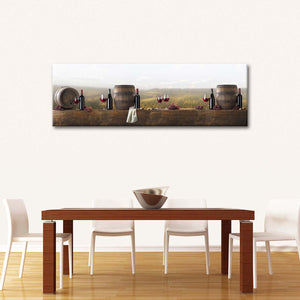 Panoramic Wine Tasting Multi Panel Canvas Wall Art - Winery