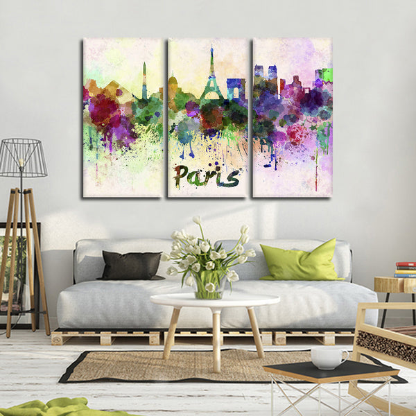 Paris Watercolor Skyline Multi Panel Canvas Wall Art