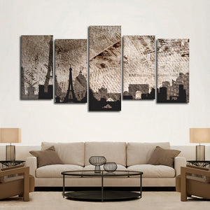 Paris Silhouette Multi Panel Canvas Wall Art - Paris