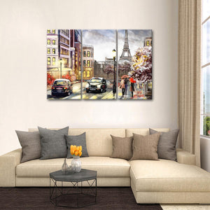 Paris Street Vibe Multi Panel Canvas Wall Art - Paris