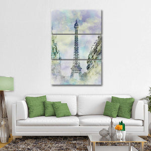 Parisian Flair Watercolor Multi Panel Canvas Wall Art - Paris